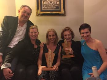 Ruthless producer Alistair Thomson, director Lisa Freshwater, winner Katrina Retallick, winner Geraldine Turner and nominee Meredith O'Reilly
